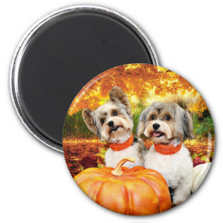 Fall Thanksgiving - Max & Leo - Yorkies 2 Inch Round Magnet