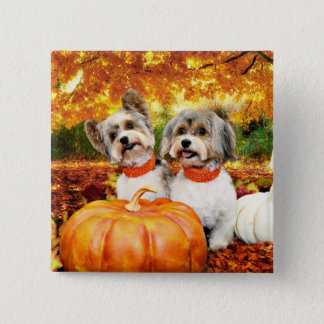 Fall Thanksgiving - Max & Leo - Yorkies 2 Inch Square Button