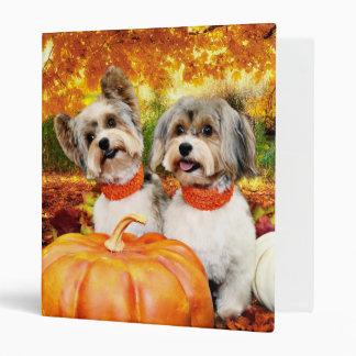 Fall Thanksgiving - Max & Leo - Yorkies 3 Ring Binder