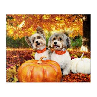 Fall Thanksgiving - Max & Leo - Yorkies Acrylic Wall Art
