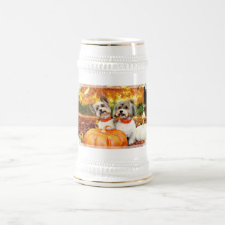 Fall Thanksgiving - Max & Leo - Yorkies Beer Stein