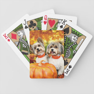 Fall Thanksgiving - Max & Leo - Yorkies Bicycle Playing Cards