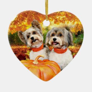 Fall Thanksgiving - Max & Leo - Yorkies Ceramic Ornament