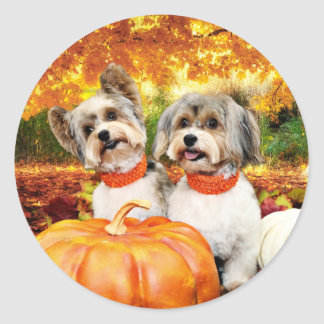 Fall Thanksgiving - Max & Leo - Yorkies Classic Round Sticker