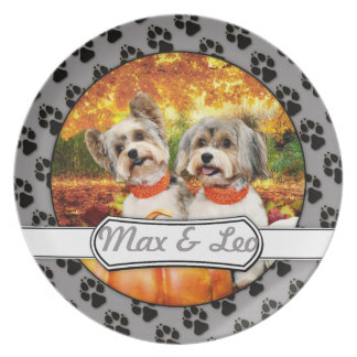 Fall Thanksgiving - Max & Leo - Yorkies Dinner Plates