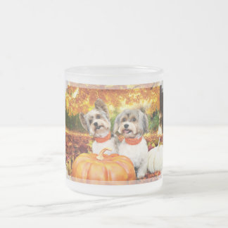 Fall Thanksgiving - Max & Leo - Yorkies Frosted Glass Coffee Mug
