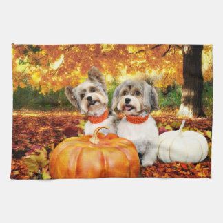 Fall Thanksgiving - Max & Leo - Yorkies Hand Towel