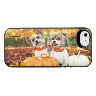 Fall Thanksgiving - Max & Leo - Yorkies iPhone SE/5/5s Battery Case