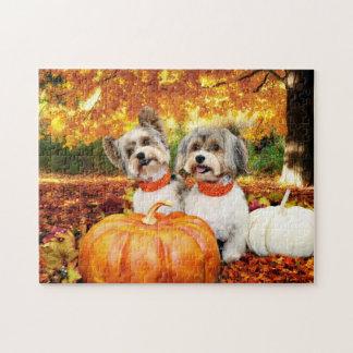 Fall Thanksgiving - Max & Leo - Yorkies Jigsaw Puzzle