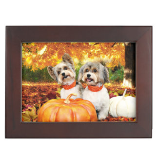 Fall Thanksgiving - Max & Leo - Yorkies Keepsake Boxes