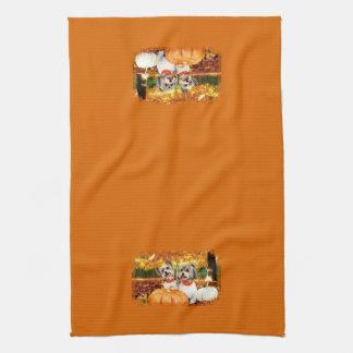 Fall Thanksgiving - Max & Leo - Yorkies Kitchen Towel
