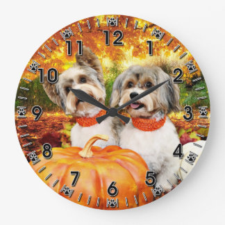 Fall Thanksgiving - Max & Leo - Yorkies Large Clock