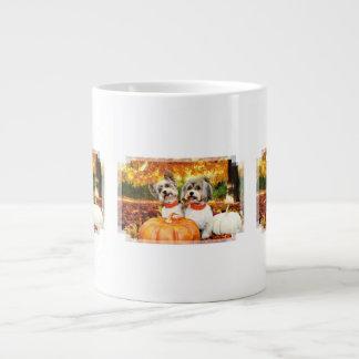 Fall Thanksgiving - Max & Leo - Yorkies Large Coffee Mug