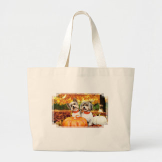 Fall Thanksgiving - Max & Leo - Yorkies Large Tote Bag