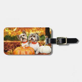 Fall Thanksgiving - Max & Leo - Yorkies Luggage Tag