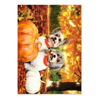 Fall Thanksgiving - Max & Leo - Yorkies Magnetic Invitations