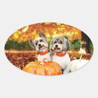 Fall Thanksgiving - Max & Leo - Yorkies Oval Sticker