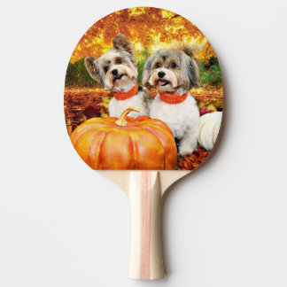 Fall Thanksgiving - Max & Leo - Yorkies Ping Pong Paddle