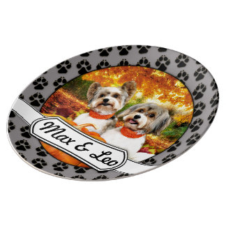 Fall Thanksgiving - Max & Leo - Yorkies Porcelain Plates