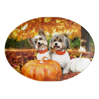 Fall Thanksgiving - Max & Leo - Yorkies Porcelain Serving Platter