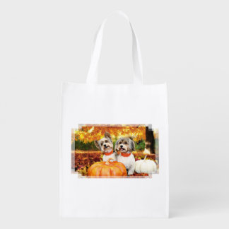 Fall Thanksgiving - Max & Leo - Yorkies Reusable Grocery Bag