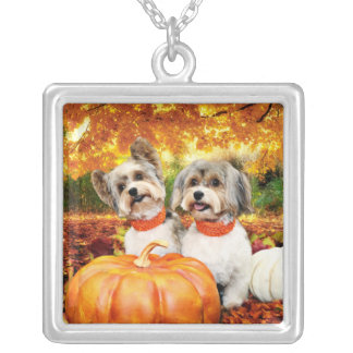 Fall Thanksgiving - Max & Leo - Yorkies Silver Plated Necklace
