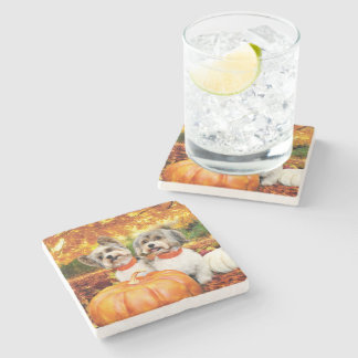 Fall Thanksgiving - Max & Leo - Yorkies Stone Coaster