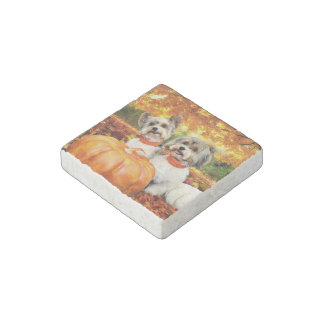 Fall Thanksgiving - Max & Leo - Yorkies Stone Magnets