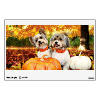 Fall Thanksgiving - Max & Leo - Yorkies Wall Sticker
