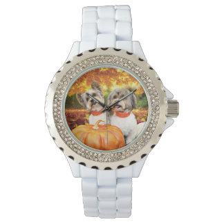 Fall Thanksgiving - Max & Leo - Yorkies Wristwatch