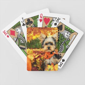 Fall Thanksgiving - Max - Yorkie Bicycle Playing Cards