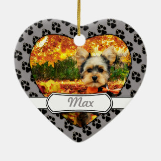 Fall Thanksgiving - Max - Yorkie Ceramic Ornament