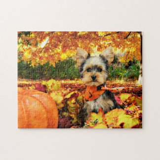 Fall Thanksgiving - Max - Yorkie Jigsaw Puzzle