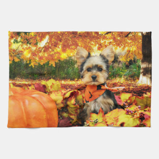 Fall Thanksgiving - Max - Yorkie Kitchen Towel