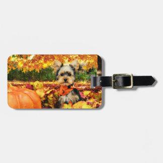 Fall Thanksgiving - Max - Yorkie Luggage Tag
