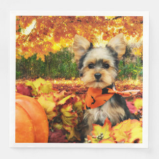 Fall Thanksgiving - Max - Yorkie Paper Napkin