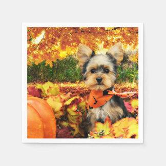 Fall Thanksgiving - Max - Yorkie Paper Napkin