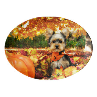 Fall Thanksgiving - Max - Yorkie Porcelain Serving Platter