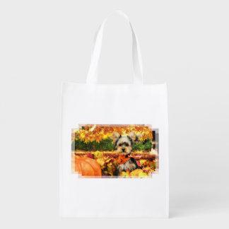 Fall Thanksgiving - Max - Yorkie Reusable Grocery Bag