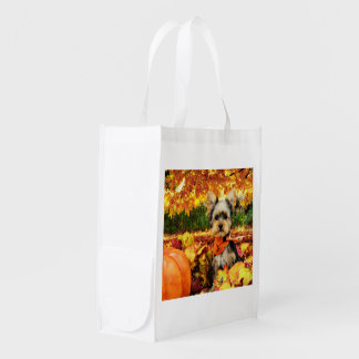 Fall Thanksgiving - Max - Yorkie Reusable Grocery Bag
