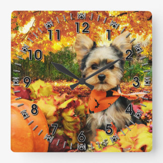 Fall Thanksgiving - Max - Yorkie Square Wall Clock