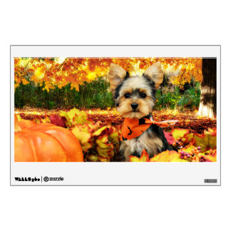 Fall Thanksgiving - Max - Yorkie Wall Decal