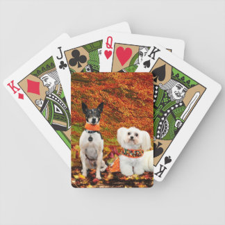 Fall Thanksgiving - Monty Fox Terrier & Milly Malt Bicycle Playing Cards