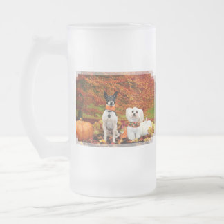Fall Thanksgiving - Monty Fox Terrier & Milly Malt Frosted Glass Beer Mug