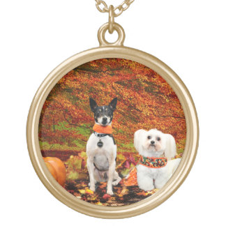 Fall Thanksgiving - Monty Fox Terrier & Milly Malt Gold Plated Necklace