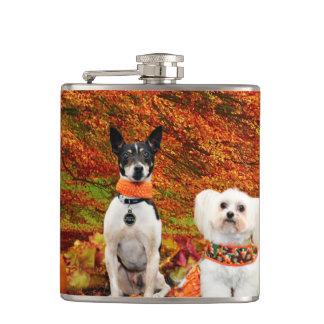 Fall Thanksgiving - Monty Fox Terrier & Milly Malt Hip Flask