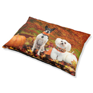 Fall Thanksgiving - Monty Fox Terrier & Milly Malt Large Dog Bed