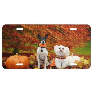 Fall Thanksgiving - Monty Fox Terrier & Milly Malt License Plate
