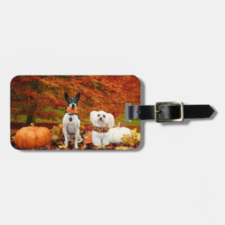 Fall Thanksgiving - Monty Fox Terrier & Milly Malt Luggage Tag