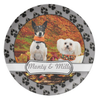 Fall Thanksgiving - Monty Fox Terrier & Milly Malt Party Plate